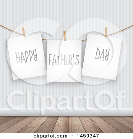 Clipart of Pinned Signs Reading Happy Fathers Day Against a Wall - Royalty Free Vector Illustration by KJ Pargeter