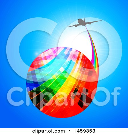 Clipart of a Colorful Globe with a Rainbow Trail and Silhouetted Airplane over a Blue Sky - Royalty Free Vector Illustration by elaineitalia