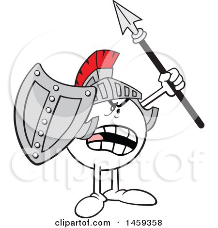 Clipart of a Shouting Moodie Character Knight Wearing a Helmet, Holding a Shield and Spear - Royalty Free Vector Illustration by Johnny Sajem