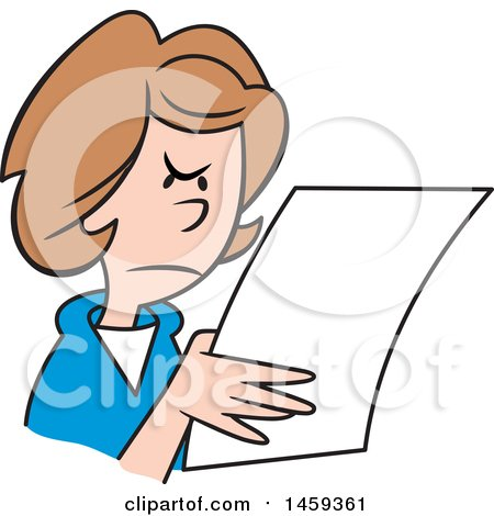 Clipart of a Mad Woman Reading a Letter - Royalty Free Vector Illustration by Johnny Sajem