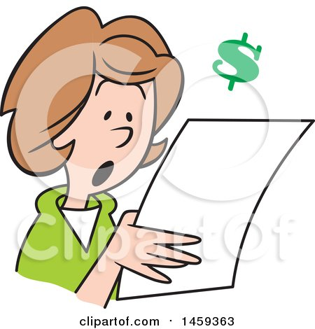 Clipart of a Shocked Woman Reading a Letter, with a Dollar Symbol - Royalty Free Vector Illustration by Johnny Sajem