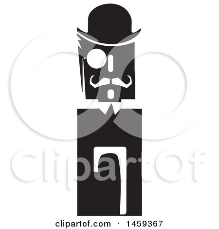 Clipart of a Black and White Retro Man with a Hat, Manacle and Cane - Royalty Free Vector Illustration by xunantunich