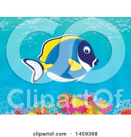 Clipart of a Powder Blue Tang over a Coral Reef - Royalty Free Illustration by Alex Bannykh