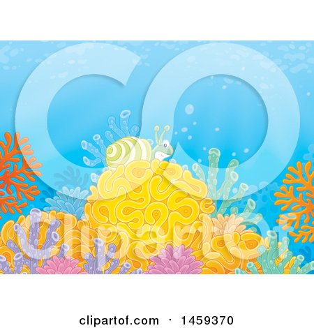 Clipart of a Sea Snail on a Coral Reef - Royalty Free Illustration by Alex Bannykh