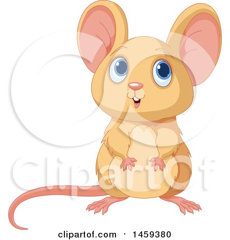 Clipart of a Cute Tan Mouse - Royalty Free Vector Illustration by Pushkin
