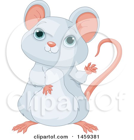 Clipart of a Cute Gray Mouse Waving - Royalty Free Vector Illustration by Pushkin