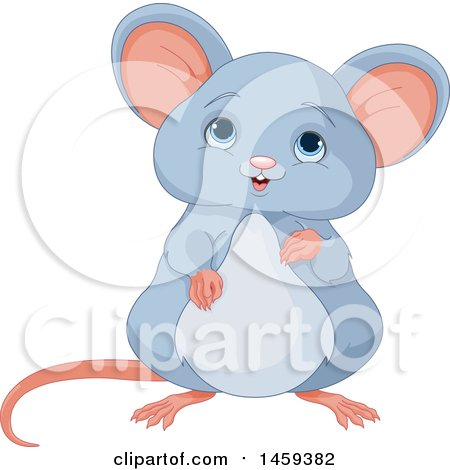 Clipart Of A Cute Brown Baby Mouse Royalty Free Vector