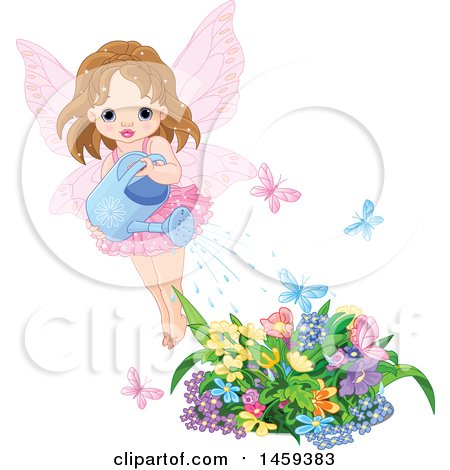 Clipart of a Toddler Fairy Girl Watering a Flower Garden, with Fluttering Butterflies - Royalty Free Vector Illustration by Pushkin