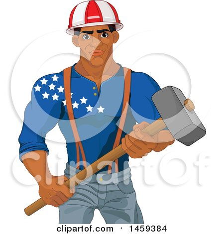 Clipart of a Handsome Muscular Black Male Worker Holding a Demolition Hammer and American Themed Helmet and Shirt - Royalty Free Vector Illustration by Pushkin