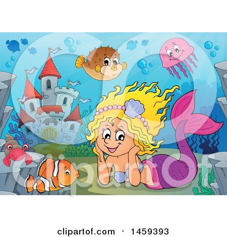 Clipart of a Happy Mermaid Resting Her Head in Her Hands near an Underwater Castle - Royalty Free Vector Illustration by visekart