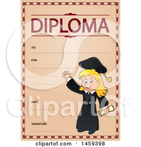 Clipart of a Graduate Girl School Diploma Design - Royalty Free Vector Illustration by visekart