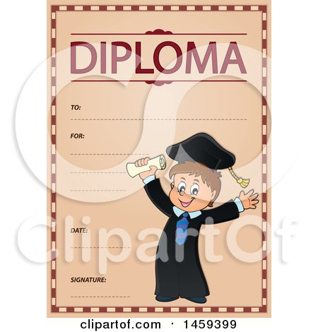 Clipart of a Graduate Boy School Diploma Design - Royalty Free Vector Illustration by visekart