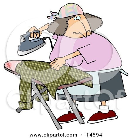 Woman Ironing A Shirt On An Ironing Table While Watching TV  Posters, Art Prints