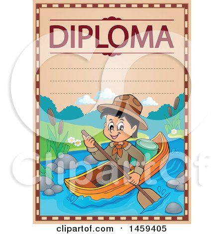 Clipart of a Boating Scout Boy School Diploma Design - Royalty Free Vector Illustration by visekart