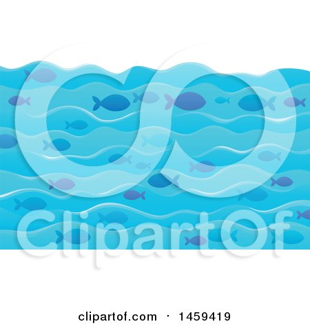 Clipart of a Background of Ocean Waves and Fish - Royalty Free Vector Illustration by visekart