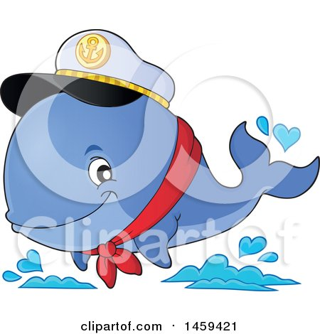 Clipart of a Captain Whale Splashing Water - Royalty Free Vector Illustration by visekart