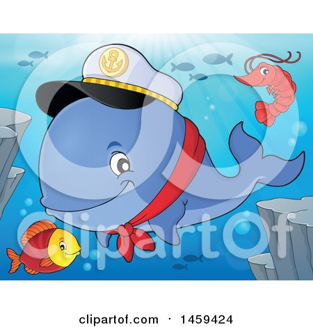 Clipart of a Shrimp, Fish and Captain Whale - Royalty Free Vector Illustration by visekart