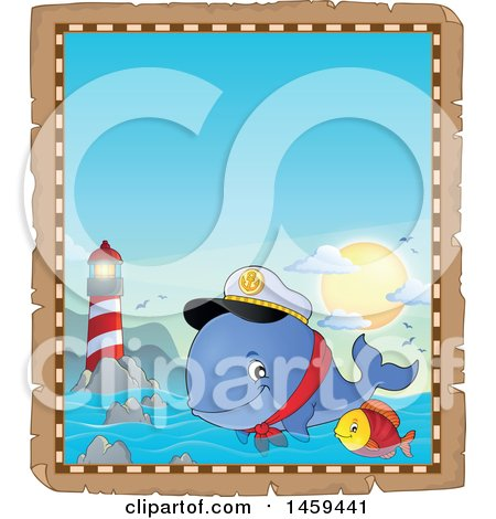 Clipart of a Parchment Border of a Fish and Captain Whale Splashing Water near a Lighthouse - Royalty Free Vector Illustration by visekart