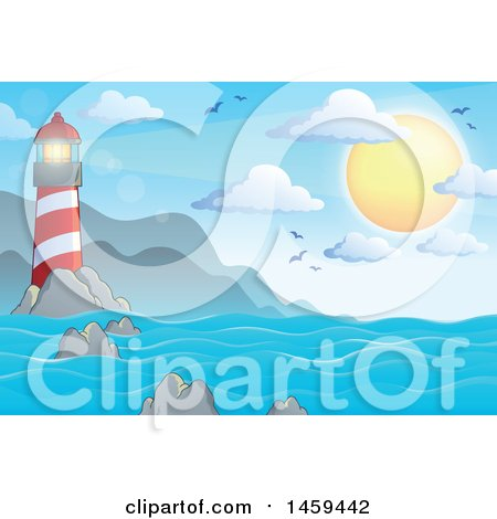 Clipart of a Sunny Sky and Lighthouse Ocean Background - Royalty Free Vector Illustration by visekart