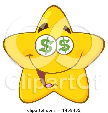 Cartoon Greedy Star Mascot Character with Dollar Sign Eyes