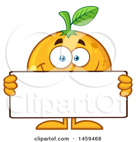 Clipart of a Navel Orange Fruit Mascot Character Holding a Blank Sign - Royalty Free Vector Illustration by Hit Toon