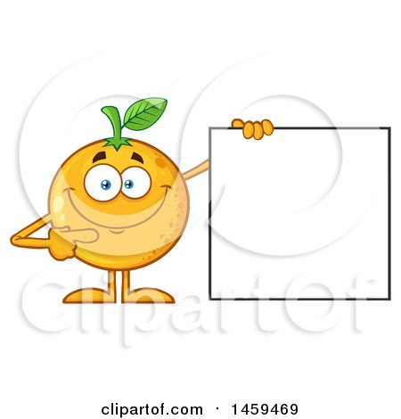 Clipart of a Navel Orange Fruit Mascot Character Pointing to a Blank Sign - Royalty Free Vector Illustration by Hit Toon