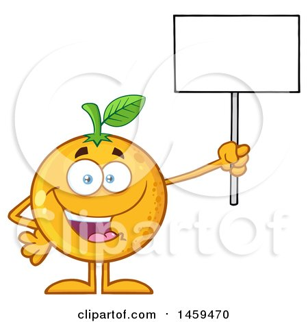 Clipart of a Navel Orange Fruit Mascot Character Holding up a Blank Sign - Royalty Free Vector Illustration by Hit Toon