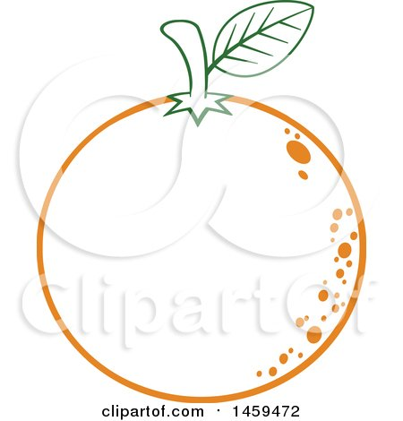 Clipart of a Lineart Navel Orange Fruit - Royalty Free Vector Illustration by Hit Toon