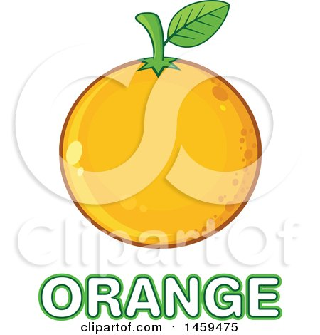 Clipart of a Navel Orange Fruit over Text - Royalty Free Vector Illustration by Hit Toon
