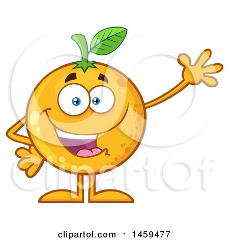 Clipart of a Navel Orange Fruit Mascot Character Waving - Royalty Free Vector Illustration by Hit Toon
