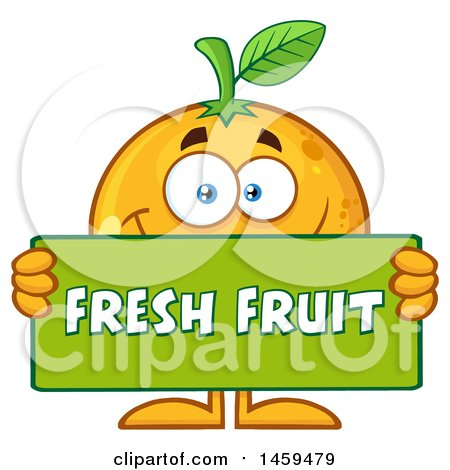 Clipart of a Navel Orange Mascot Character Holding a Fresh Fruit Sign - Royalty Free Vector Illustration by Hit Toon