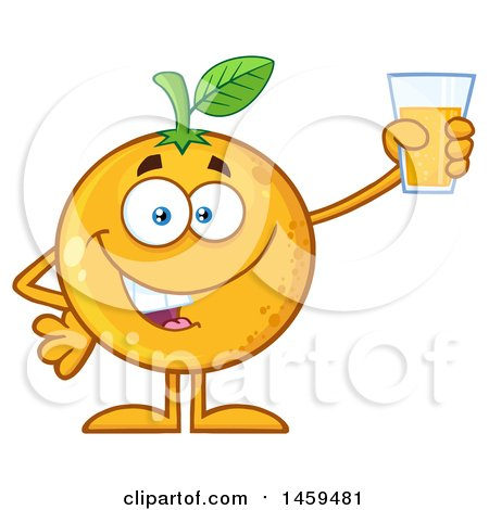 Clipart of a Navel Orange Fruit Mascot Character Holding up a Glass of Juice - Royalty Free Vector Illustration by Hit Toon