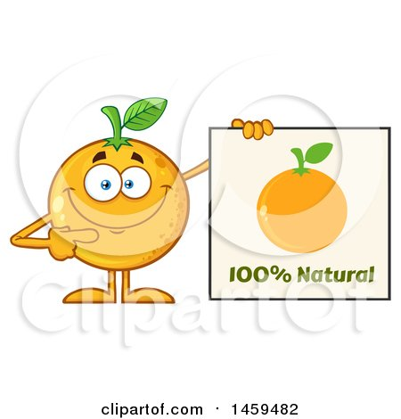 Clipart of a Navel Orange Fruit Mascot Character Pointing to a Natural Sign - Royalty Free Vector Illustration by Hit Toon