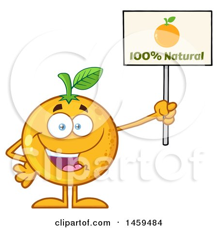 Clipart of a Navel Orange Fruit Mascot Character Holding up a Natural Sign - Royalty Free Vector Illustration by Hit Toon