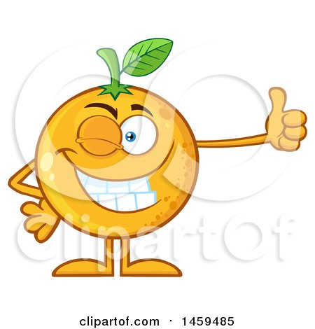 Clipart of a Navel Orange Fruit Mascot Character Winking and Giving a Thumb up - Royalty Free Vector Illustration by Hit Toon