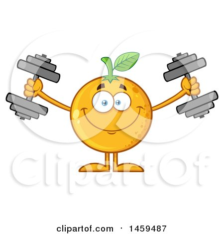 Clipart of a Navel Orange Fruit Mascot Character Working out with Dumbbells - Royalty Free Vector Illustration by Hit Toon