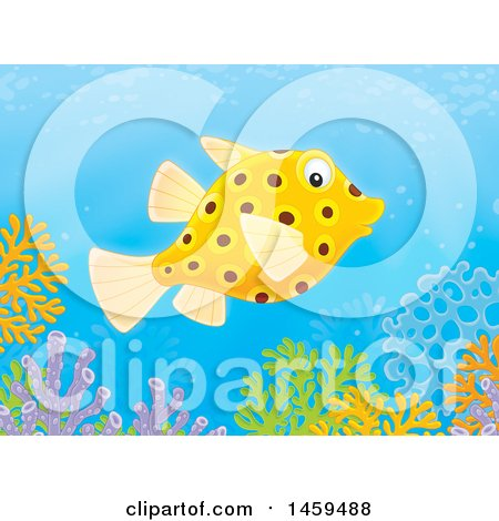 Clipart of a Puffer Fish over a Coral Reef - Royalty Free Illustration by Alex Bannykh