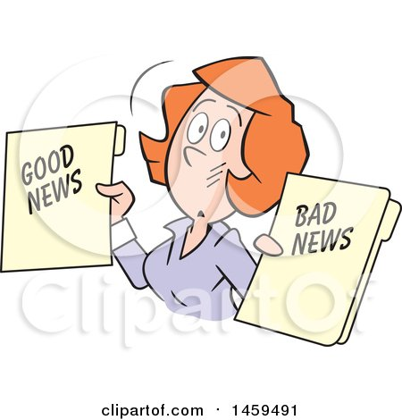 Clipart of a Red Haired Caucasian Business Woman Holding Good News and Bad News Files - Royalty Free Vector Illustration by Johnny Sajem