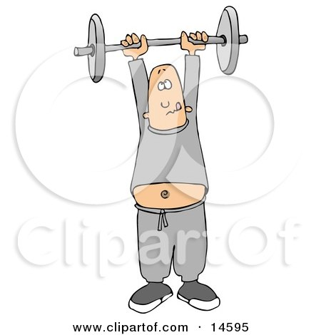Man In Sweats, Struggling To Hold A Barbell Above His Head While Exercising In The Fitness Gym Clipart Illustration by djart