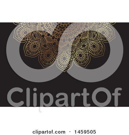 Clipart of a Black and Gold Mandala Business Card or Background - Royalty Free Vector Illustration by KJ Pargeter