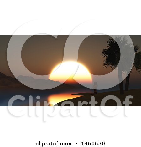 Clipart of a 3d Silhouetted Woman Doing Yoga on a Tropical Beach at Sunset - Royalty Free Illustration by KJ Pargeter