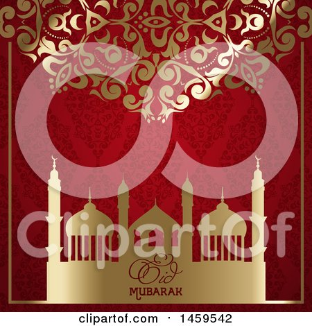 Clipart of a Golden Floral Design and Red Damask Pattern with a Mosque and Eid Mubarak Text - Royalty Free Vector Illustration by KJ Pargeter