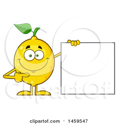 Clipart of a Happy Lemon Mascot Character Pointing to a Blank Sign - Royalty Free Vector Illustration by Hit Toon