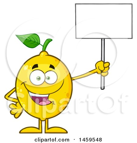 Clipart of a Happy Lemon Mascot Character Holding up a Blank Sign - Royalty Free Vector Illustration by Hit Toon