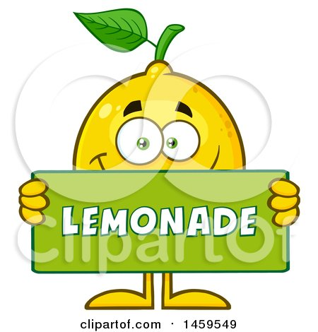 Clipart of a Happy Lemon Mascot Character Holding a Lemonade Sign - Royalty Free Vector Illustration by Hit Toon