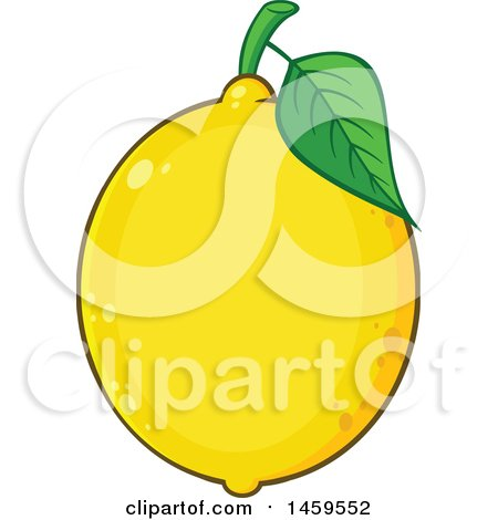Clipart of a Yellow Lemon Fruit and Leaf - Royalty Free Vector Illustration by Hit Toon