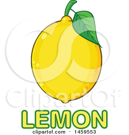 Clipart of a Yellow Lemon Fruit and Leaf over Text - Royalty Free Vector Illustration by Hit Toon
