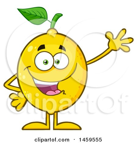 Clipart of a Waving Lemon Mascot Character - Royalty Free Vector Illustration by Hit Toon