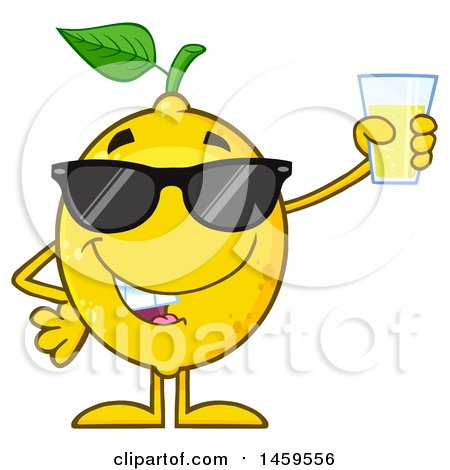Clipart of a Happy Lemon Mascot Character Holding up a Glass of Lemonade - Royalty Free Vector Illustration by Hit Toon