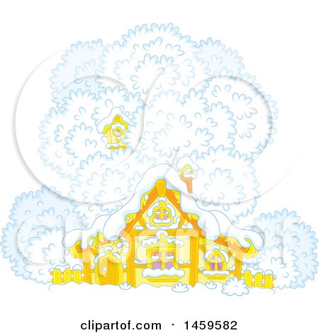 Clipart of a Birdhouse in a Tree over a Cottage in Winter Snow - Royalty Free Vector Illustration by Alex Bannykh